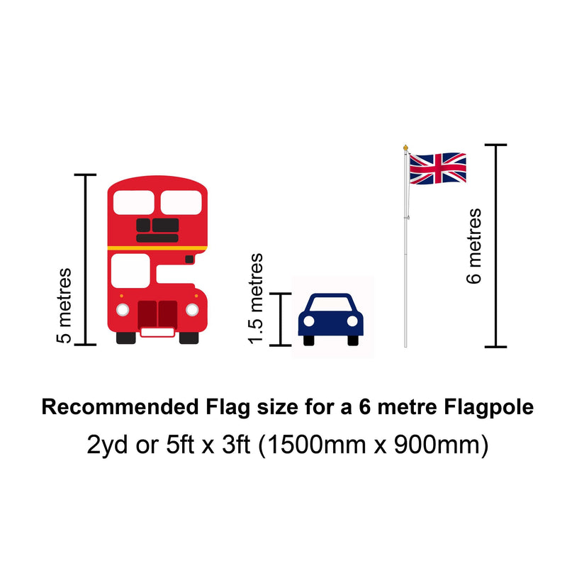 6m Step-tapered Builders Flagpole with rotating arm