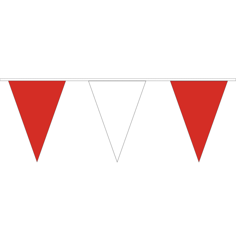 Red & White PVC Bunting - 10 metre length