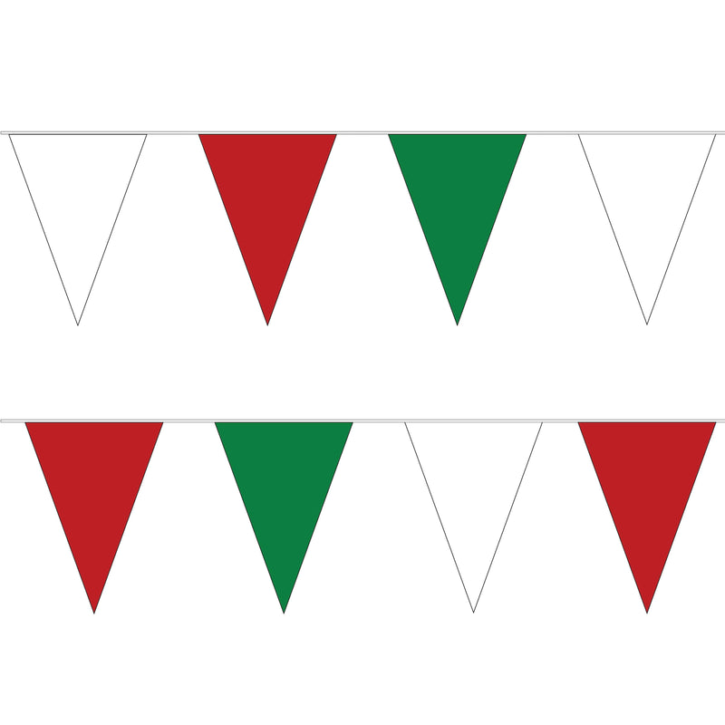 White, Red & Green PVC Bunting - 10 metre length