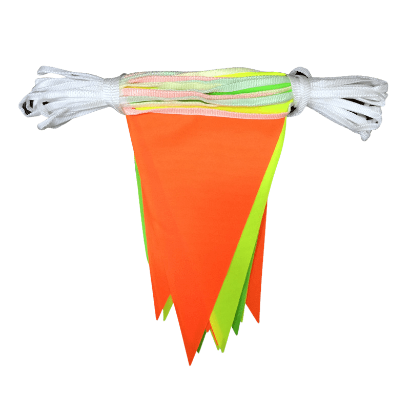 Multicoloured Hi Vis Fabric Bunting Flags And Flagpoles