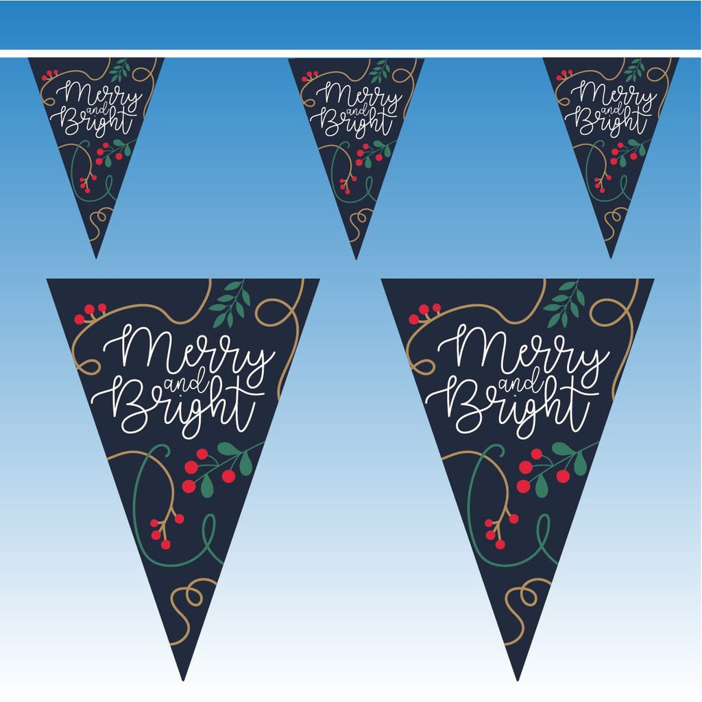 Blue Merry & Bright Christmas Bunting