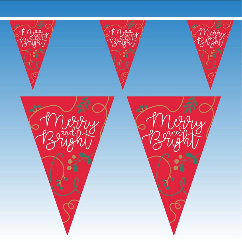 Red Merry & Bright Christmas Bunting