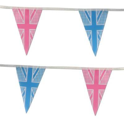 Union Jack Bunting - Blue & Pink