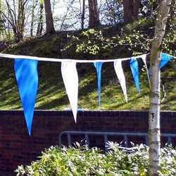 Blue & White PVC Bunting - 10 metre length
