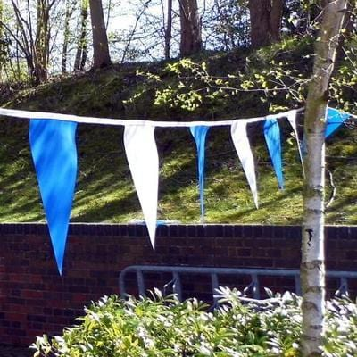 Blue & White PVC Bunting - 10m Length