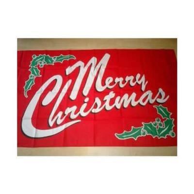 Merry Christmas Budget Display Flag - Red 3ft x 2ft