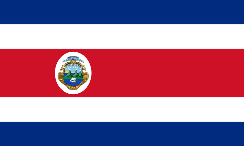 Costa Rica Sewn flag with Rope & Toggle