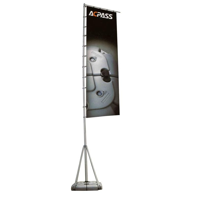 PORTABLE 5m Event Flag Pole with Plastic Base and 1m x 2m Flag