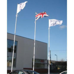 8 metre Fibreglass Flagpole with hinged base plate and external halyard system