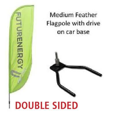 DOUBLE SIDED Medium Feather Flag with Car Wheel Base