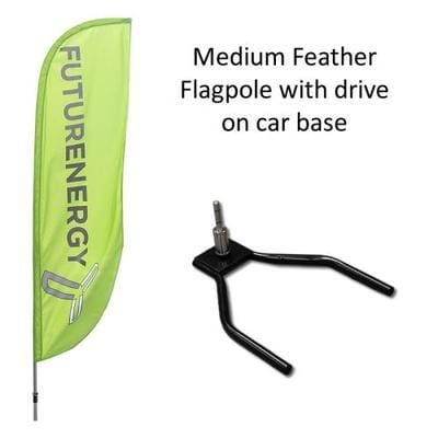 Medium Feather Flag with Car Wheel Base