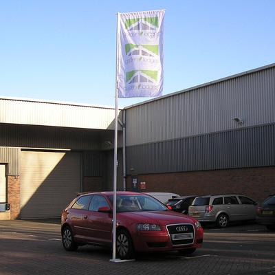 4.5 metre Car Forecourt Flagpole with rotating arm and 1m x 2m flag