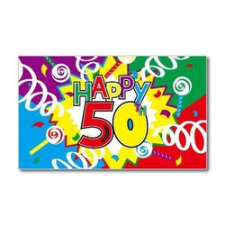 Happy 50th Birthday Flag 5ft x 3ft flag