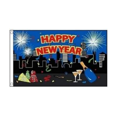Happy New Year Flag - 5ft x 3ft (new)