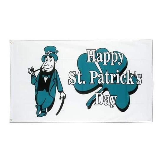 St Patricks Day white Flag - 5ft x 3ft