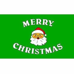 Merry Christmas (Green) 1.52m x 0.91m (5ftx 3ft) Budget Display Flag