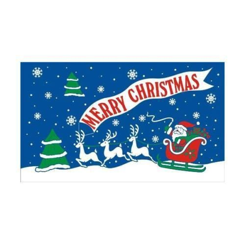 Merry Christmas (blue) 1.52m x 0.91m (5ftx 3ft) Budget Display Flag