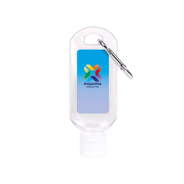 50ml Gel Hand Sanitiser with Carabiner Clip