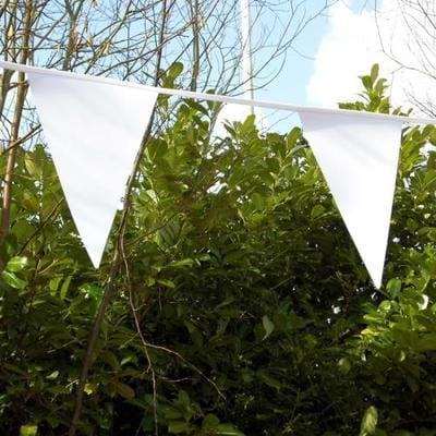 Plain White PVC Bunting - 10 metre length