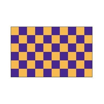 Purple and gold check flag