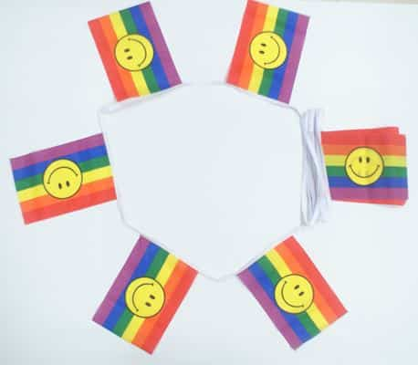 6m 20 flag Rainbow Smile (gay pride) bunting