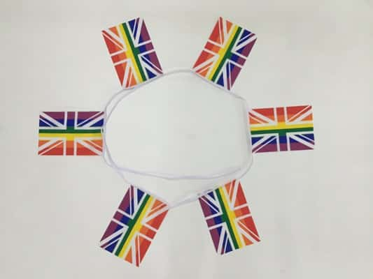 6m 20 flag Rainbow Union Jack (Gay Pride) bunting