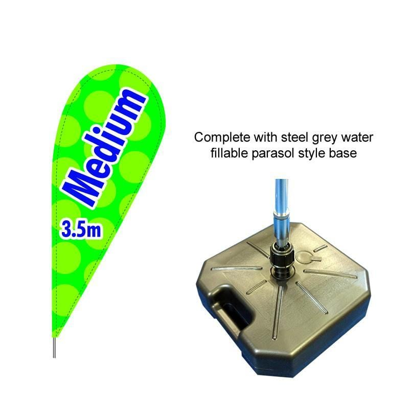 Medium Teardrop Flag with water fillable steel grey base