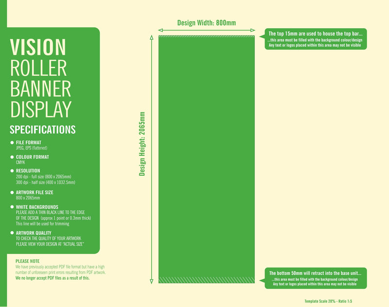 Vision pull up Roller Banner artwork guidelines