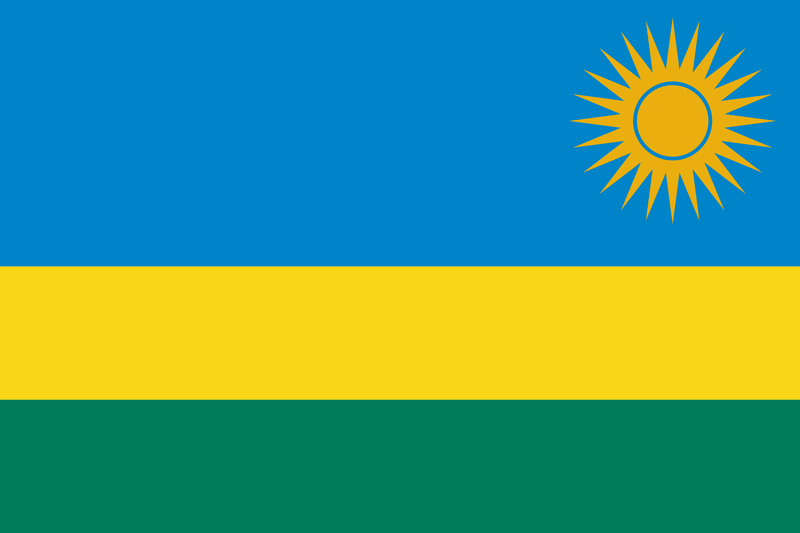 Rwanda Budget Display Flag. 91cm x 60cm (3ft x 2ft)