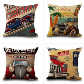 Retro Car Pillow Cases