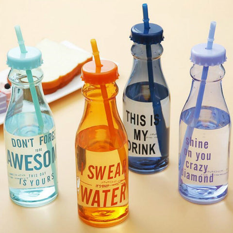 650ml Plastic Water Bottle With A Straw