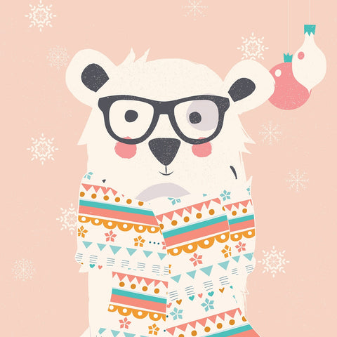 cute polar bear with glasses and scarf