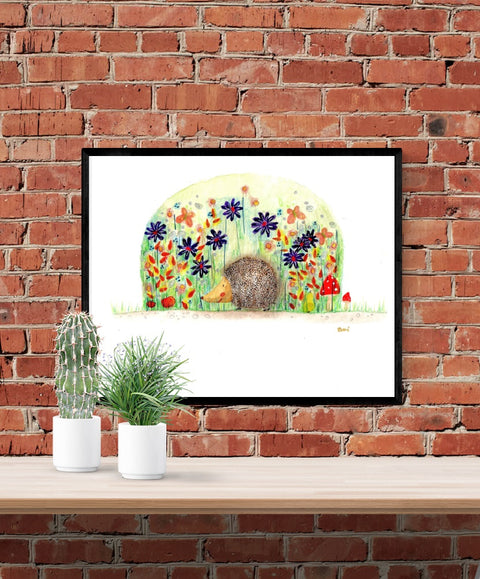 hedgehog and flowers