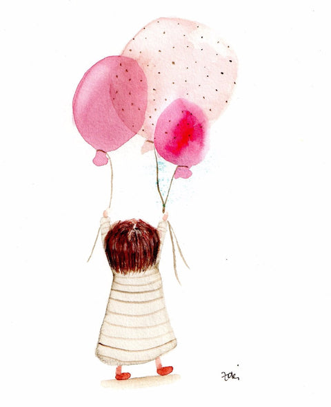 little girl and balloons