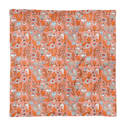 Foxes In Love - Square Pillow Case