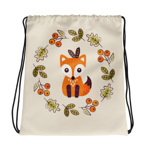 Little Fox with Autumn Berries - Drawstring Bag