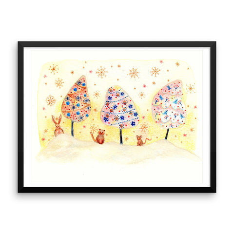 Christmas Trees and Animals - Framed Poster