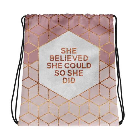 She Believed She Could - Drawstring Bag