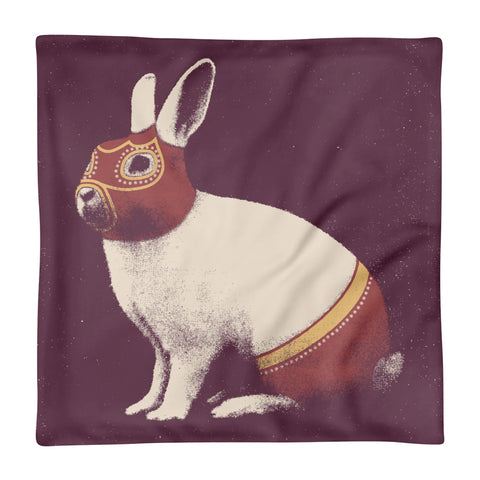 Rabbit Wrestler - Square Pillow Case