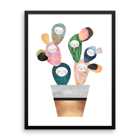 Sleepy Cactus - Framed poster