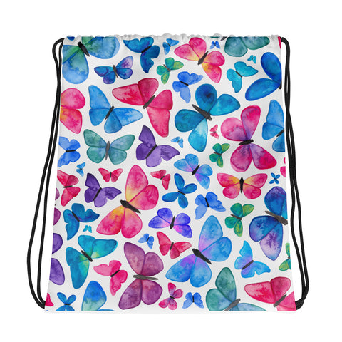 Butterfly Pattern - Drawstring Bag