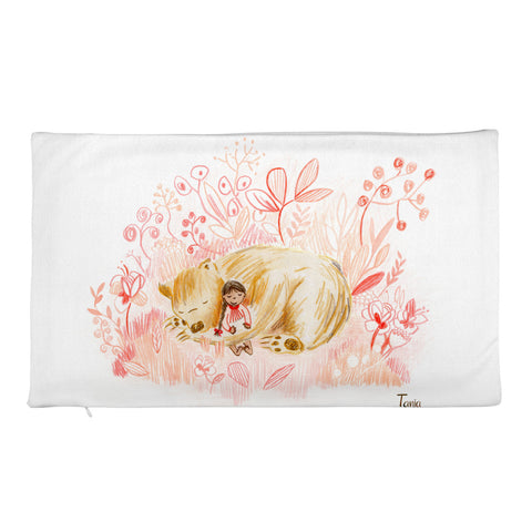 Girl and Bear - Rectangular Pillow Case
