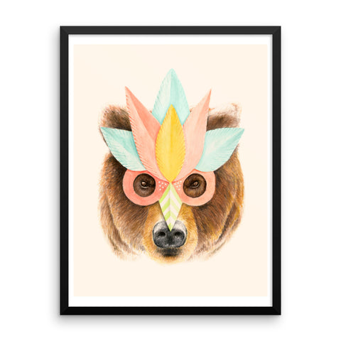 Bear Paper Mask - Framed Poster