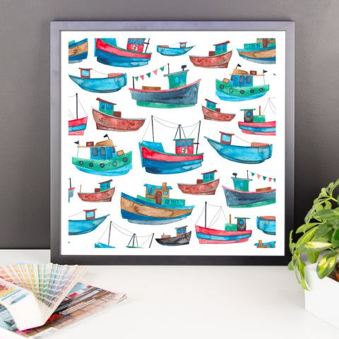 Boats Pattern - Framed Poster