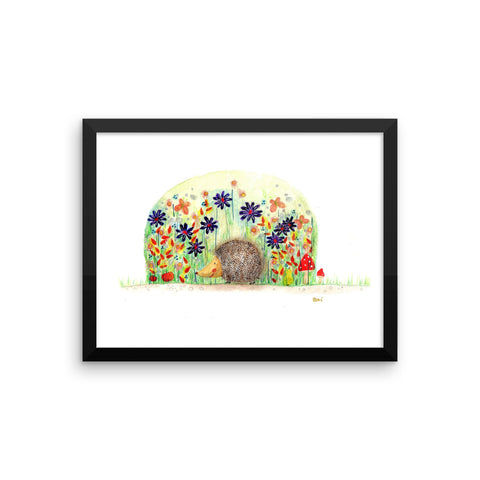 Hedgehog and Flowers - Framed Poster