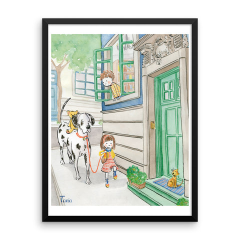 Girl and Great Dane - Framed Poster