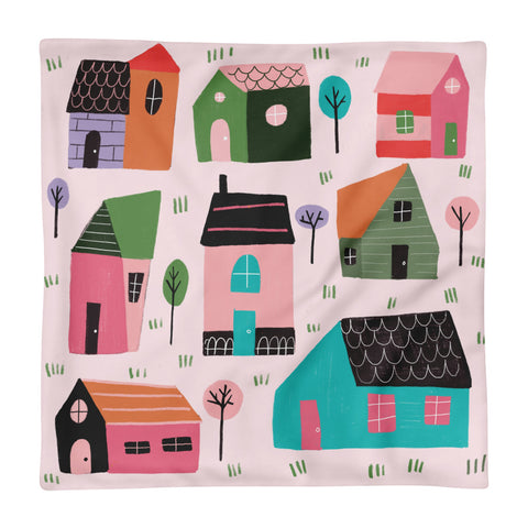 Little Houses - Square Pillow Case