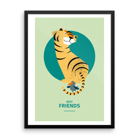 Best Friends Tiger and Bird - Framed Poster