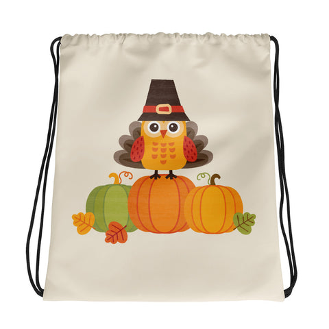 Happy Thanksgiving Owl - Drawstring Bag