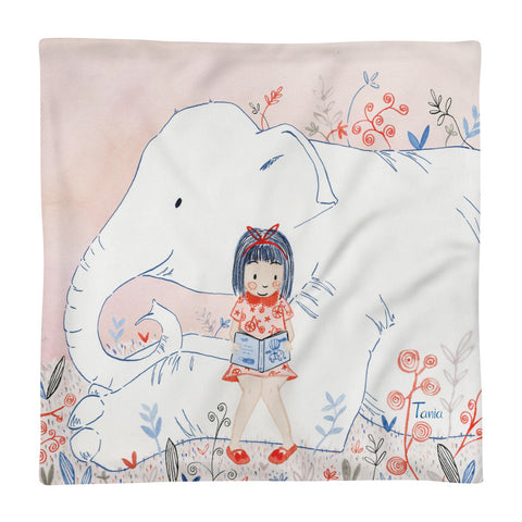 Girl and Elephant - Square Pillow Case